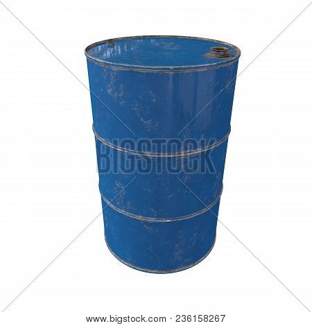 Old Metal Blue Barrel. Isolated On White Background. 3d Render.