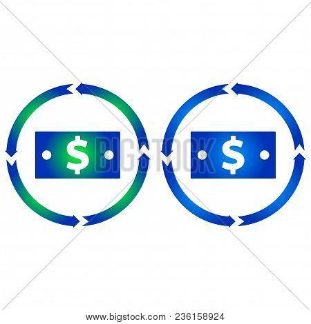 Dollar Bill Turn Icon. Vector Illustration. Flat Style