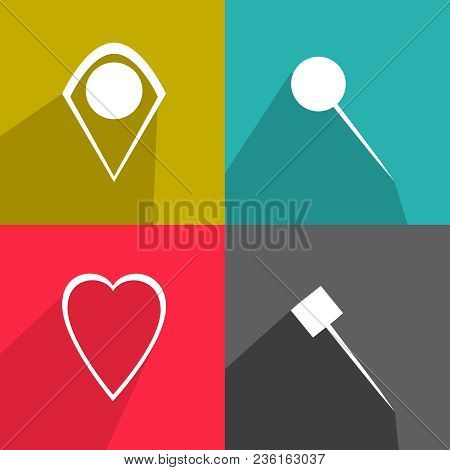 Set Of Pins. Different Vector Icons. Flat Design