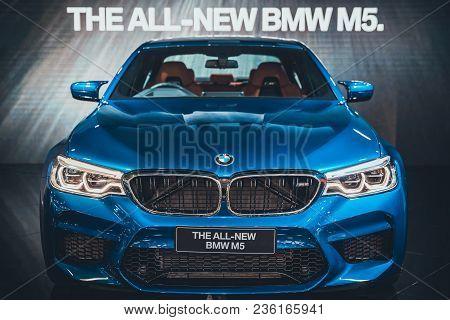 Bangkok, Thailand - Apr 4, 2018: New Bmw M5 Display On Stage At The 39th Bangkok International Motor