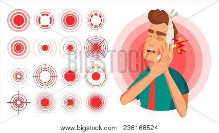 Pain Target Vector. Red Ring From Thin To Thick. Isolated Illustration