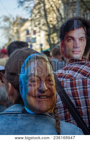 Budapest, Hungary - April 14, 2018: Political Protest Demonstration Against The Recently Elected Gov