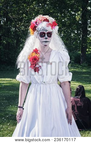 April, 19, 2014, Haarzuilens, The Netherlands: Lady In White With A Horror Grimage Poses In The Park
