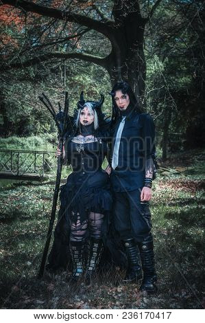 April, 19, 2014, Haarzuilens, The Netherlands: Devilish Couple Poses In The Forest During The Elf Fa