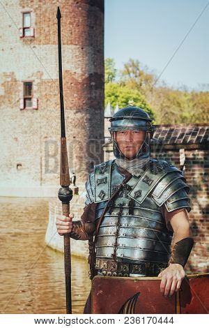April, 19, 2014, Haarzuilens, The Netherlands: Roman Soldier On Guard At The Castle During The Elf F