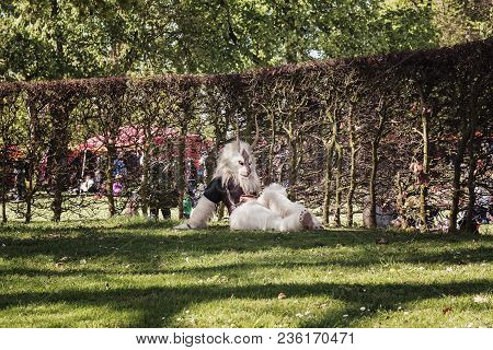 April, 19, 2014, Haarzuilens, The Netherlands: Fantasy Figure With The Shape Of A Buck Rests In The
