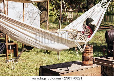 April  19, 2014, Haarzuilens, The Netherlands: Skeleton Rests In A Hammock At The Elf Fantasy Fair (