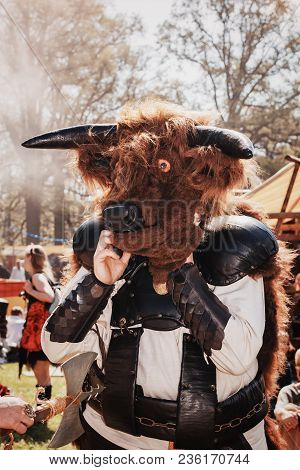 April  19, 2014, Haarzuilens, The Netherlands: Minotaur On The Elf Fantasy Fair (elfia) Which Is An