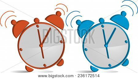 The Alarm Clock Is Orange And Blue At 6:00. Wake Up To Prepare For Work (illustration).
