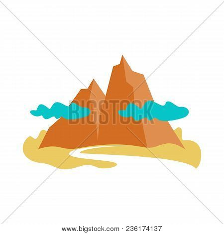 Mountain With Cloud Brown Icon. Natural Landscape Element, Expedition, Hiking, Leisure Activity And