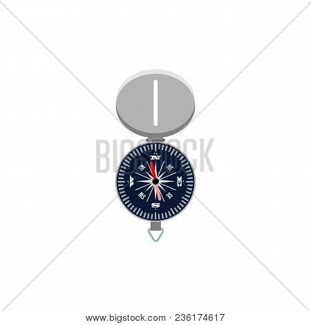Flat Compass Icon. Navigation Cartography Symbol, Exploration Adventure And Travel Symbol. East Nort