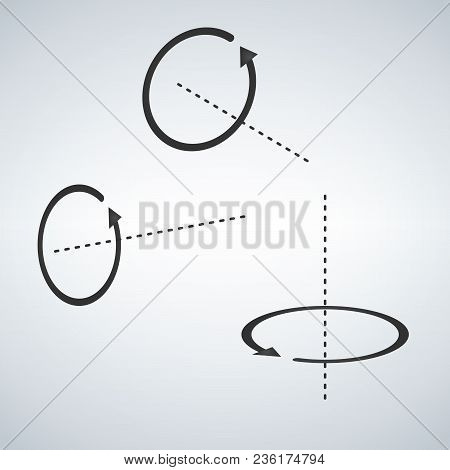 Arrow Circular Rotation Set, Sign Rotation Horizontally And Vertically, Vector Illustration Isolated