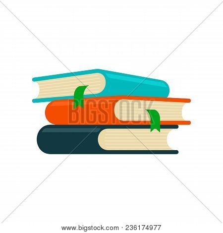 Books Pile With Bookmarks, Stacks Column Set. Colored Hardcover Textbooks Objects. School Or Univers