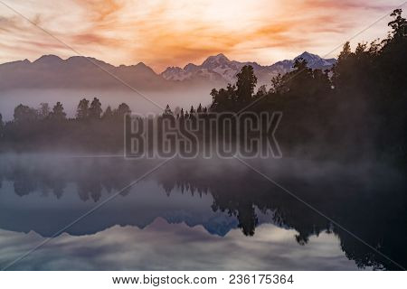 Matheson Water Reflection Lake With Mt.cook Background, New Zealand Natural Landscape