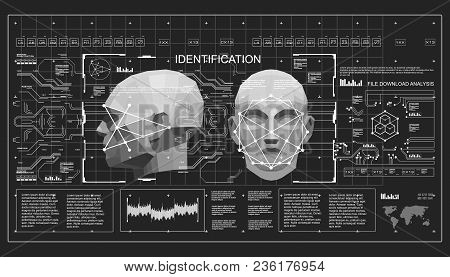 Concept Of Face Scanning Accurate Facial Recognition Biometric Technology. 3d Low Poly Face Scanning
