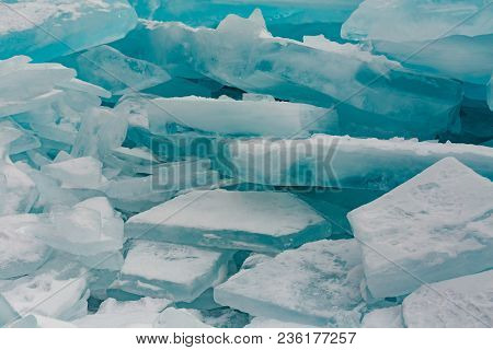 Breaking Ice In Baikal Freeze Lake Close Up Background And Texture