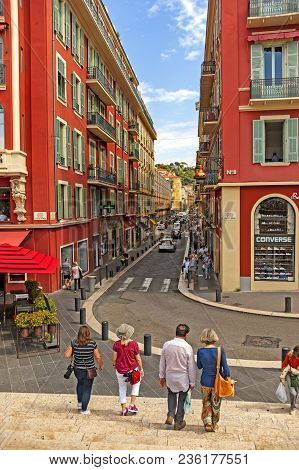 Nice, France - September 1, 2014: View Of The Place Masséna Is A Historic Square In Nice, Alpes-mari
