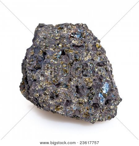 Closeup of volcanic rock with olivine gem throughout, isolated on a white background.