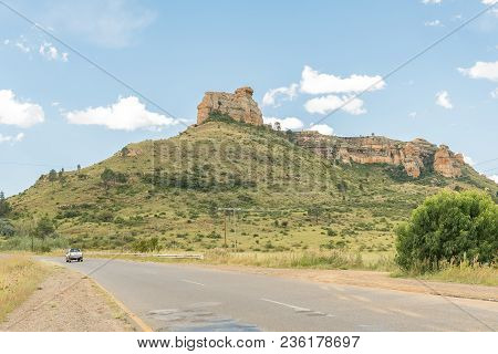 Fouriesburg, South Africa - March 12, 2018: Landscape With Typical Sandstone Hills Near Fouriesburg