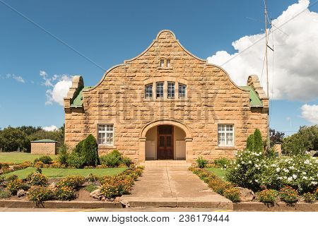 Fouriesburg, South Africa - March 12, 2018: The Sandstone Town Hall In Fouriesburg In The Free State