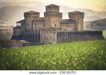 Parma - Italy - Castle Of Torrechiara Meadow Vale Panorama Enchanted Land And Fantasy Setting .