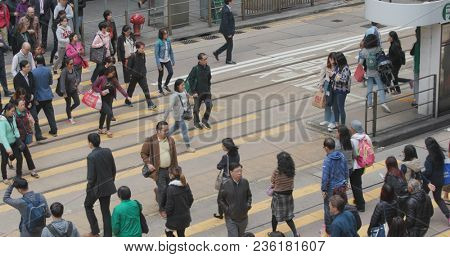 Central, Hong Kong, 28 February 2018:- People crossing the road