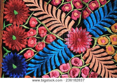 Detail Of Flowers Embroidered In Traditional Mexican Cloth