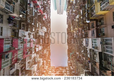 Crowded Residence Apartment Bottom View, Hong Kong Cityscape Downtown
