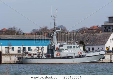 Vordingborg Denmark - April 7. 2018: Vessel From The Danish Naval Home Guard In Port Of Vordingborg