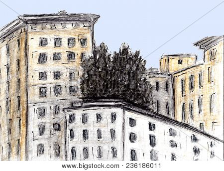Hand Drawn Sketch Of Building. Watercolor And Charcoal Technique. Illustration Of Houses In European