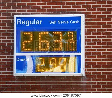Gas Price Board On The Wall In Gas Station