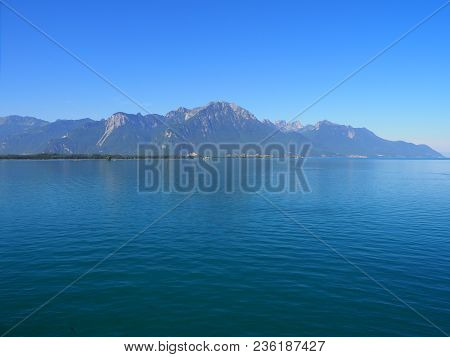 View Of Beautiful Alpine Lake Geneva Landscapes Seen From Chateau De Chillon In Montreux City In Swi