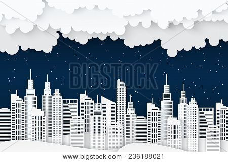 Paper Skyscrapers. Achitectural Building In Panoramic View. Modern Nidht City Skyline Building Indus