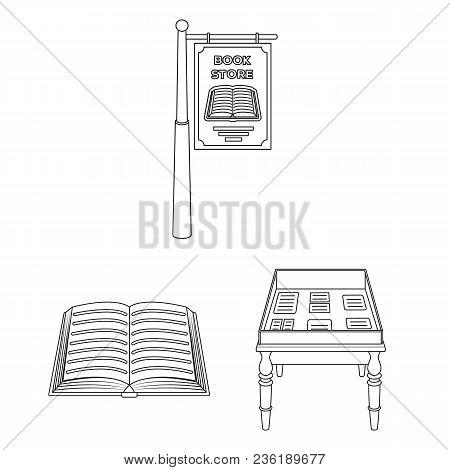 Library And Bookstore Outline Icons In Set Collection For Design. Books And Furnishings Vector Symbo