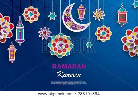 Ramadan Kareem Concept Banner With Islamic Geometric Patterns. Paper Cut Flowers, Traditional Lanter