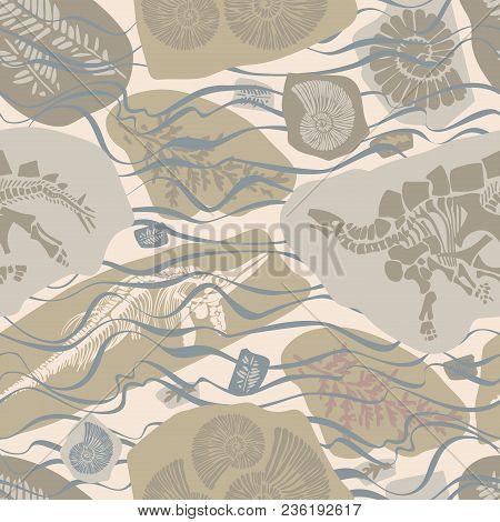 Vector Design With Prehistoric Bones Of Animals