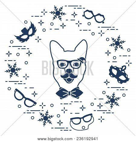 Muzzle Of Dog In Carnival Costume, Masks, Snowflakes, Glasses, Mustache, Bow Tie. Carnival Festive C
