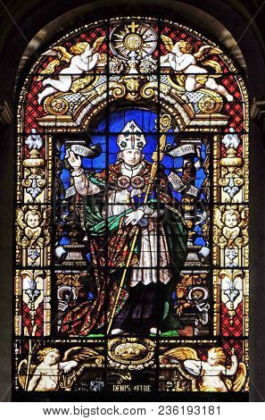 PARIS, FRANCE - JANUARY 09: Servant of God Denis Auguste Affre, stained glass window in the Saint Roch Church, Paris, France on January 09, 2018.
