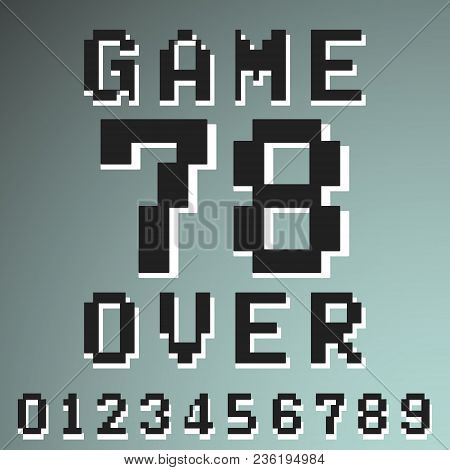 Game Over Numbers Vintage T-shirt Stamp. Set Of Number 0 1 2 3 4 5 6 7 8 9 Designed For Printing Pro