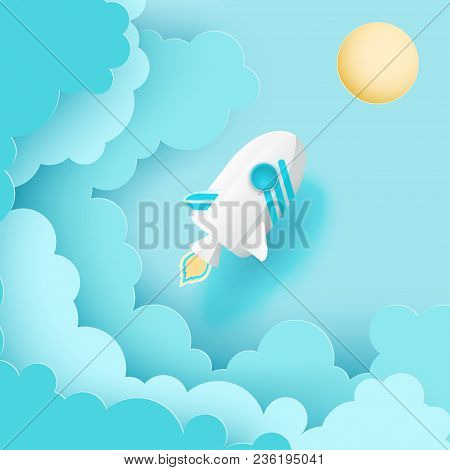 Paper Art Of Space Shuttle Launch To The Sky. Blue Sky, Sun, Fluffy Paper Cloud. Rocket Launch. Star