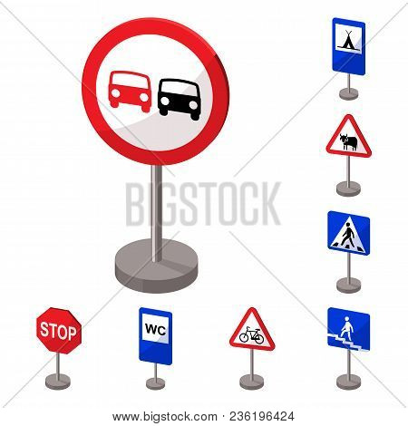 Different Types Of Road Signs Cartoon Icons In Set Collection For Design. Warning And Prohibition Si
