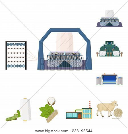 Textile Industry Cartoon Icons In Set Collection For Design.textile Equipment And Fabrics Vector Sym
