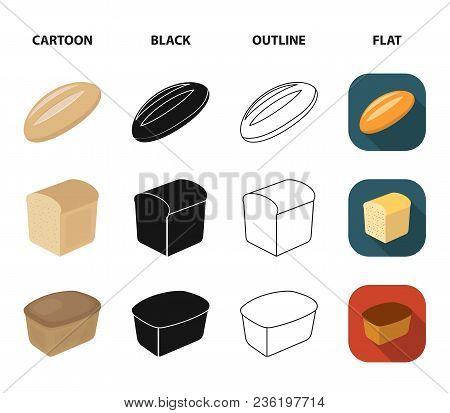 Loaf Cut, Bagel, Rectangular Dark, Half A Loaf.bread Set Collection Icons In Cartoon, Black, Outline
