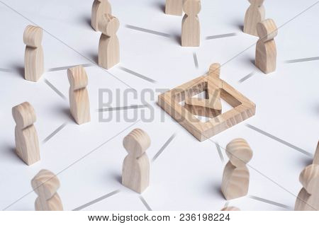 People Gathered Around The Checkboxes Connected By Lines. People Make A Group Choice. Democratic Ele