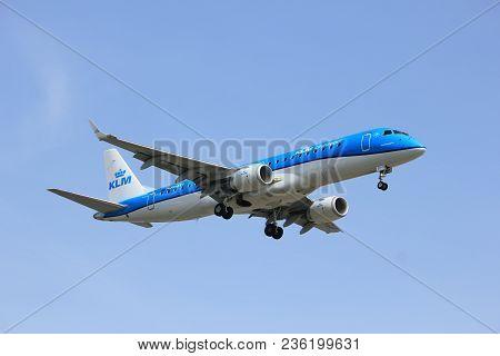 Amsterdam The Netherlands - April, 7th 2018: Ph-exy Klm Cityhopper Embraer Erj-190 Approaching Schip