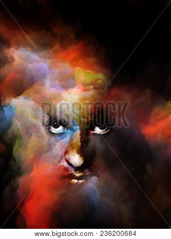 Your Shadow Series. Surreal Portrait Of Female Face Fused With Colored Fractal Nebula Texture On The