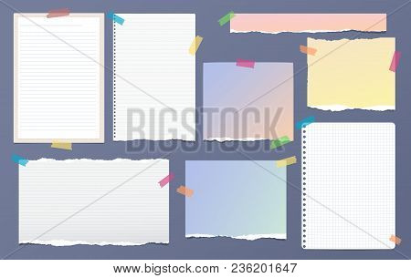 Torn White And Colorful Note, Notebook Paper Pieces For Text Stuck With Sticky Tape On Dark Blue Bac