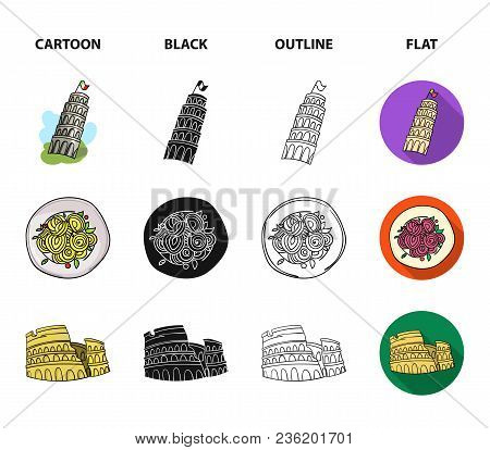 Pisa Tower, Pasta, Coliseum, Legionnaire Helmet.italy Country Set Collection Icons In Cartoon, Black