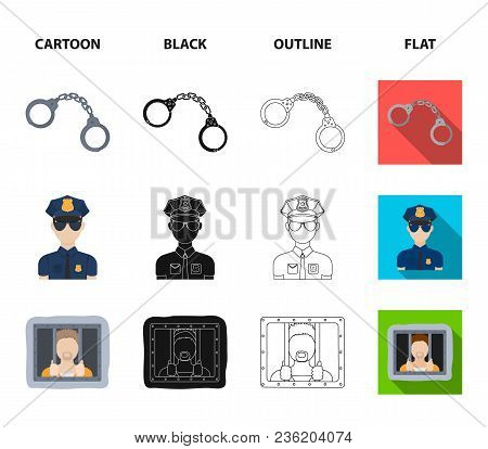 Handcuffs, Policeman, Prisoner, Flashlight.police Set Collection Icons In Cartoon, Black, Outline, F