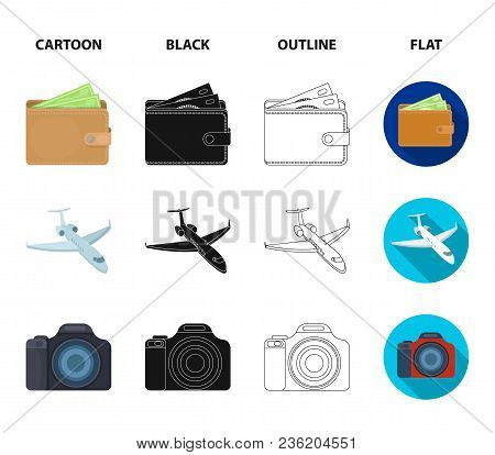Vacation, Travel, Wallet, Money .rest And Travel Set Collection Icons In Cartoon, Black, Outline, Fl